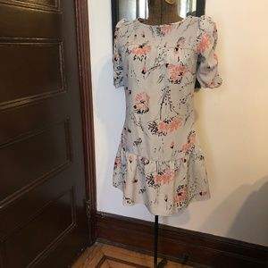 Beautiful ruched flowered dress with zipper